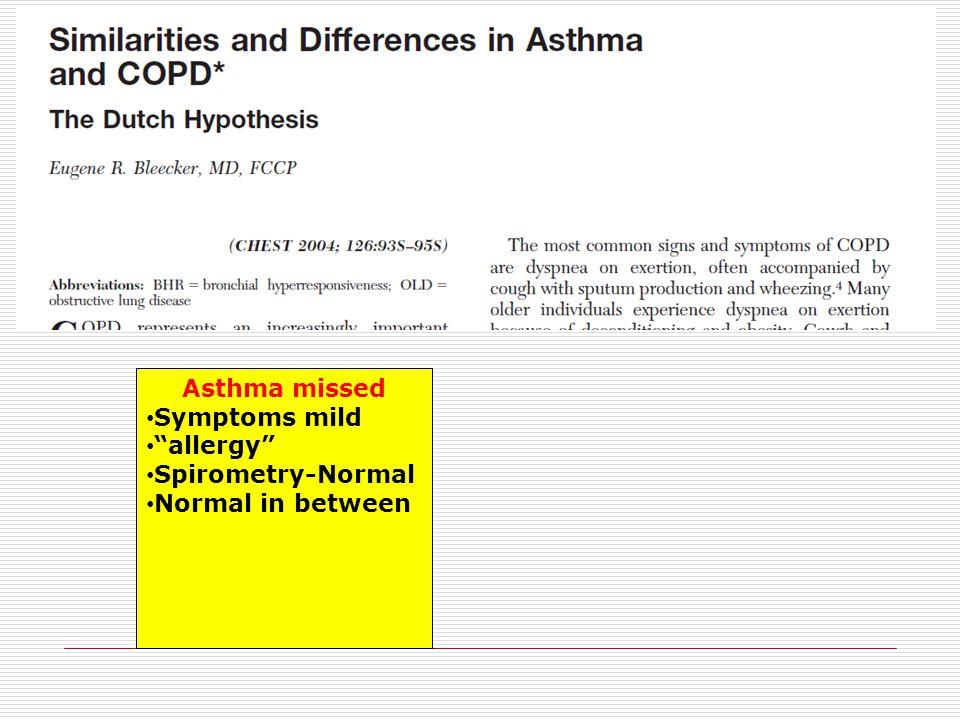 """Asthma missed Symptoms mild """"allergy"""" Spirometry-Normal Normal in between"""
