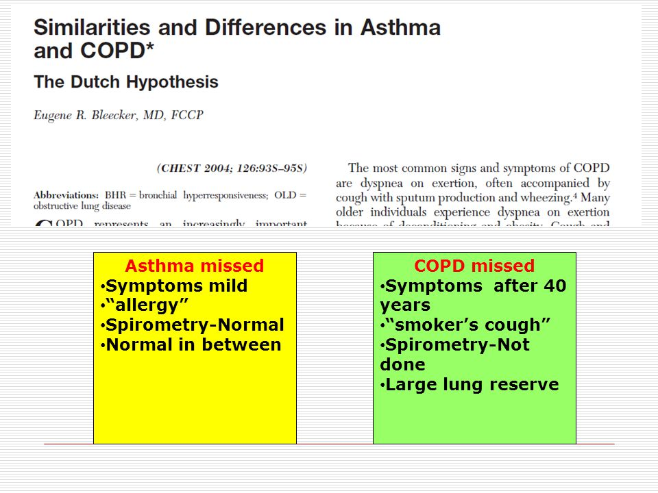 """Asthma missed Symptoms mild """"allergy"""" Spirometry-Normal Normal in between COPD missed Symptoms after 40 years """"smoker's cough"""" Spirometry-Not done Lar"""