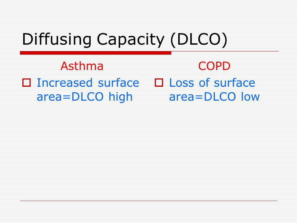 Diffusing Capacity (DLCO) Asthma  Increased surface area=DLCO high COPD  Loss of surface area=DLCO low