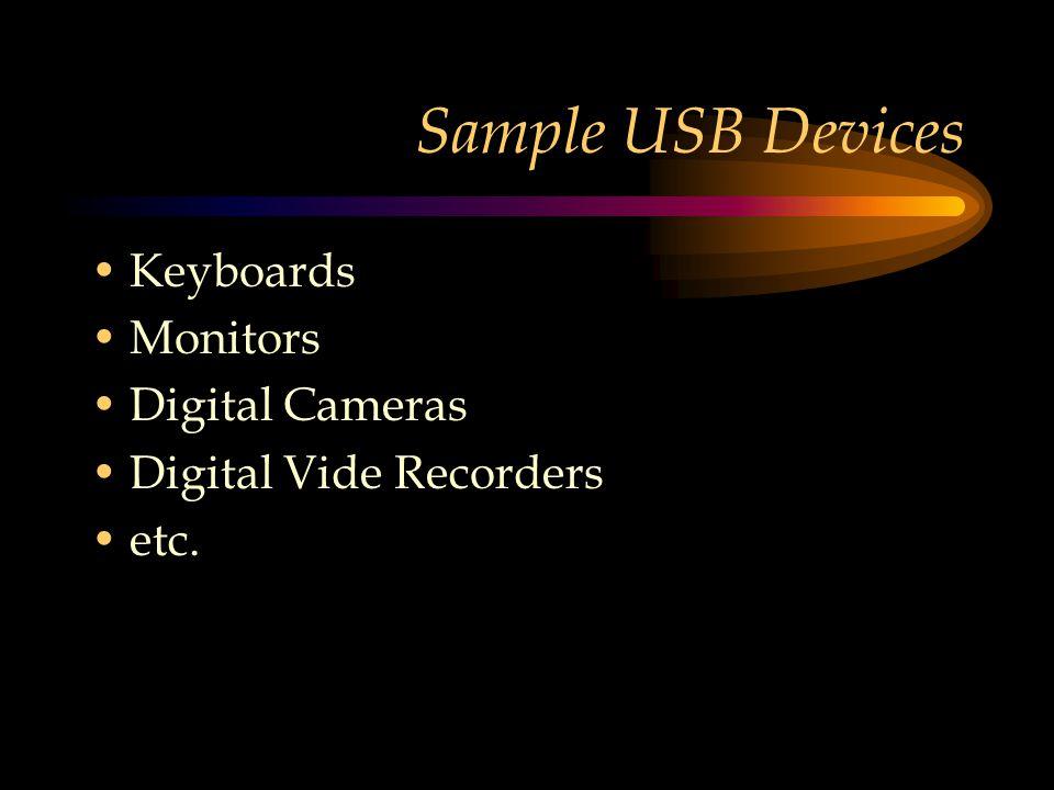Sample USB Devices Keyboards Monitors Digital Cameras Digital Vide Recorders etc.