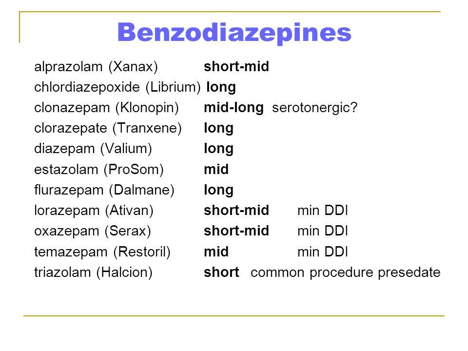 Benzodiazepines alprazolam (Xanax)short-mid chlordiazepoxide (Librium) long clonazepam (Klonopin) mid-long serotonergic.