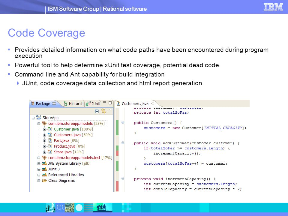 IBM Software Group | Rational software Code Coverage  Provides detailed information on what code paths have been encountered during program execution  Powerful tool to help determine xUnit test coverage, potential dead code  Command line and Ant capability for build integration  JUnit, code coverage data collection and html report generation