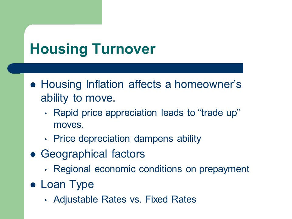 Housing Turnover Housing Inflation affects a homeowner's ability to move.