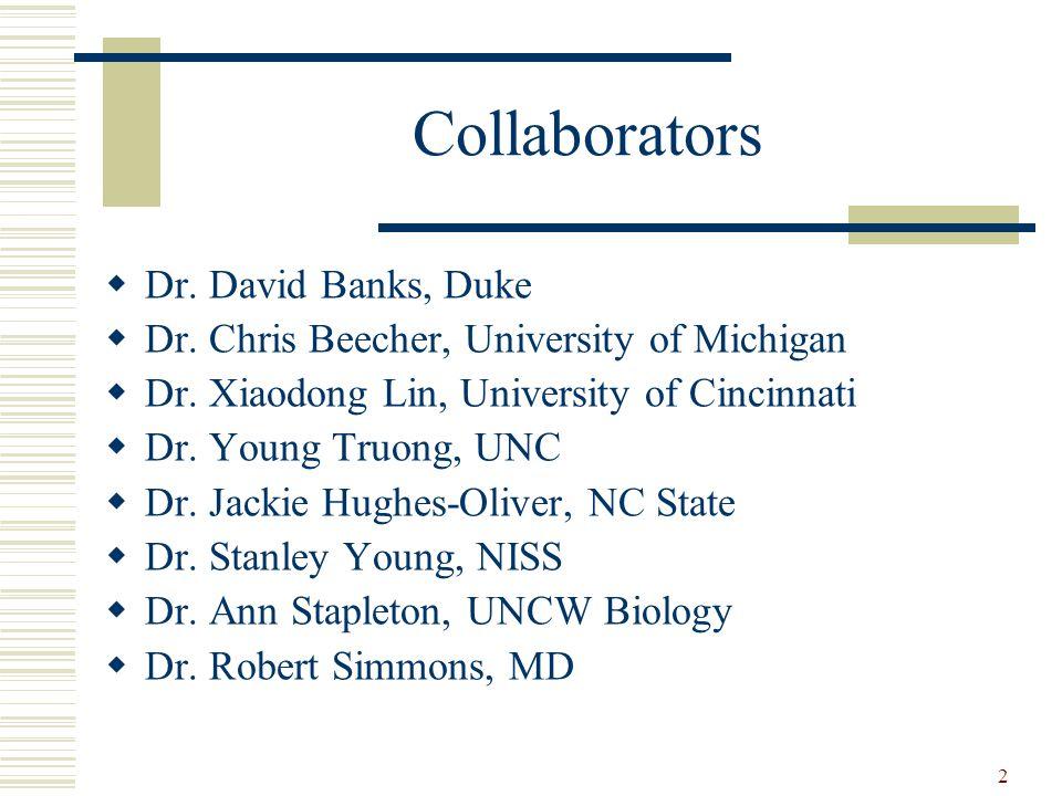 2 Collaborators  Dr. David Banks, Duke  Dr. Chris Beecher, University of Michigan  Dr.