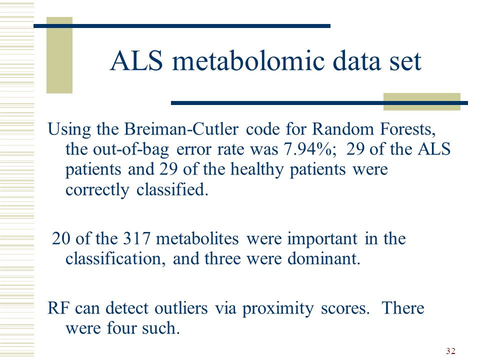 32 ALS metabolomic data set Using the Breiman-Cutler code for Random Forests, the out-of-bag error rate was 7.94%; 29 of the ALS patients and 29 of the healthy patients were correctly classified.