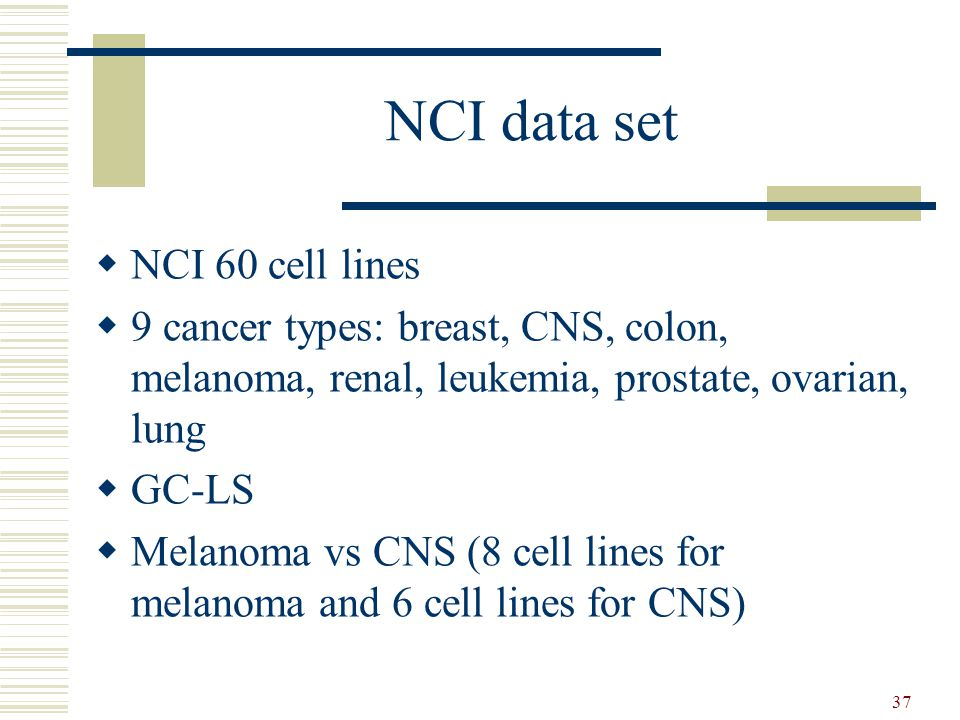 37 NCI data set  NCI 60 cell lines  9 cancer types: breast, CNS, colon, melanoma, renal, leukemia, prostate, ovarian, lung  GC-LS  Melanoma vs CNS (8 cell lines for melanoma and 6 cell lines for CNS)