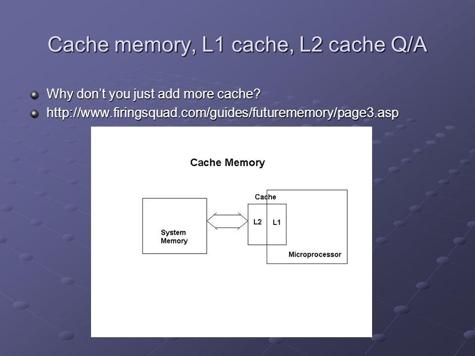 Cache memory, L1 cache, L2 cache Q/A Why don't you just add more cache.