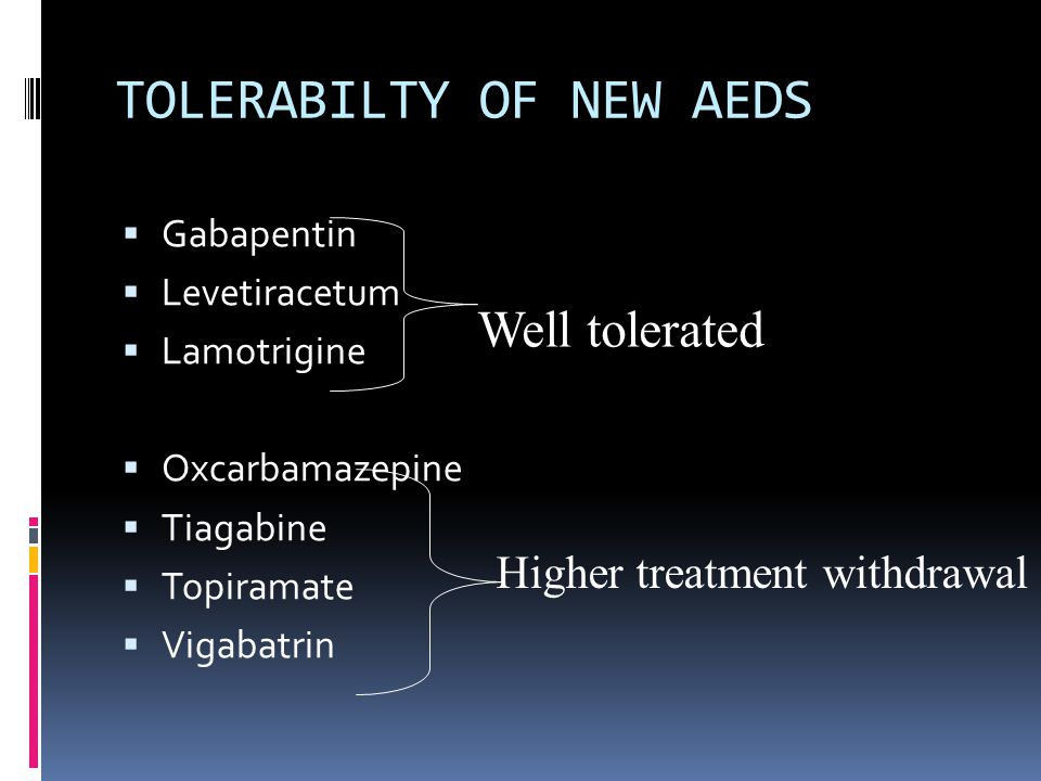TOLERABILTY OF NEW AEDS  Gabapentin  Levetiracetum  Lamotrigine  Oxcarbamazepine  Tiagabine  Topiramate  Vigabatrin Well tolerated Higher treatment withdrawal