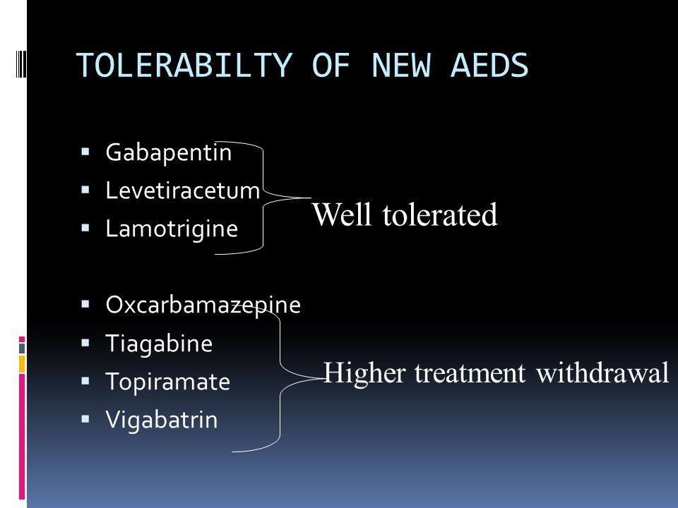 TOLERABILTY OF NEW AEDS  Gabapentin  Levetiracetum  Lamotrigine  Oxcarbamazepine  Tiagabine  Topiramate  Vigabatrin Well tolerated Higher treat