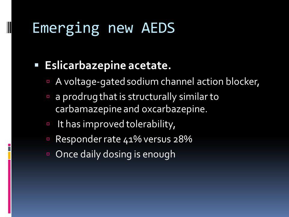 Emerging new AEDS  Eslicarbazepine acetate.