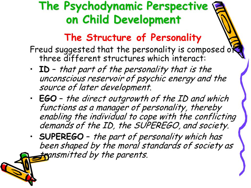 The Psychodynamic Perspective on Child Development The Structure of Personality cont'd Each structure operates according to a different principle: ID – pleasure principle EGO – reality principle SUPEREGO – principle of perfection