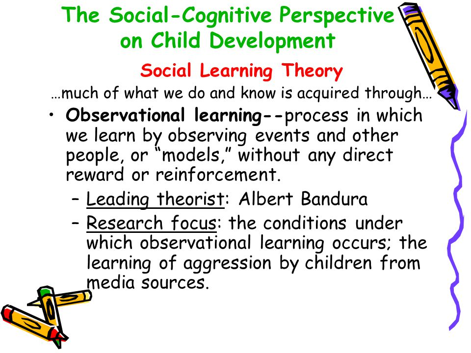 The Social-Cognitive Perspective on Child Development Social Learning Theory …much of what we do and know is acquired through… Observational learning-