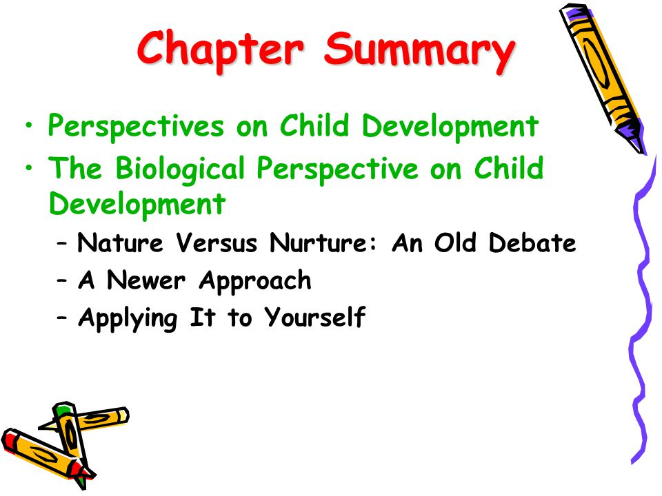Chapter Summary Chapter Summary cont'd The Psychodynamic Perspective on Child Development –Development of Personality –The Structure of Personality –Personality Dynamics –Modifications –Applying It to Yourself