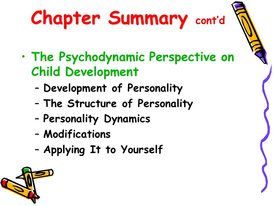 Chapter Summary Chapter Summary cont'd The Social-Cognitive Perspective on Child Development –Social Learning Theories –Recent Additions: Cognitions & Behavior –Evaluation –Applying It to Yourself