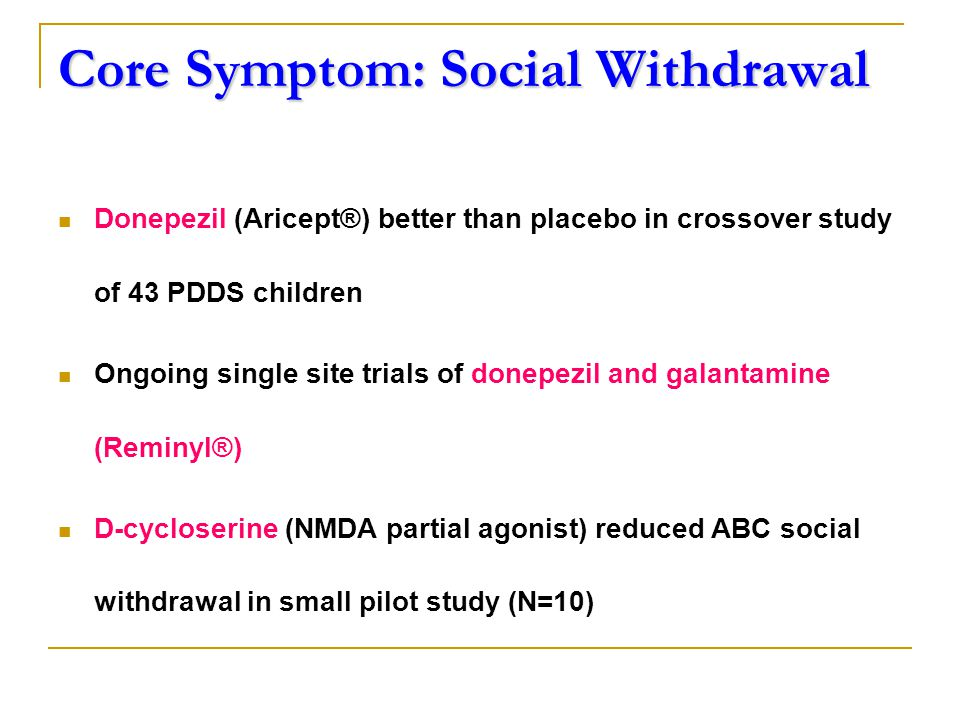 Core Symptom: Social Withdrawal Donepezil (Aricept®) better than placebo in crossover study of 43 PDDS children Ongoing single site trials of donepezil and galantamine (Reminyl®) D-cycloserine (NMDA partial agonist) reduced ABC social withdrawal in small pilot study (N=10)