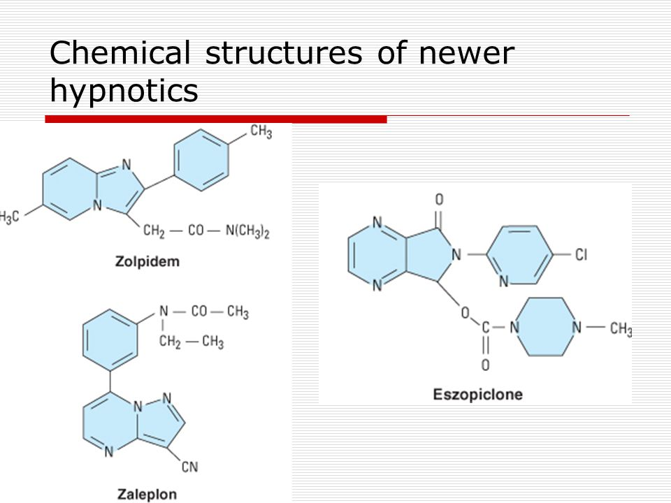 Chemical structures of newer hypnotics