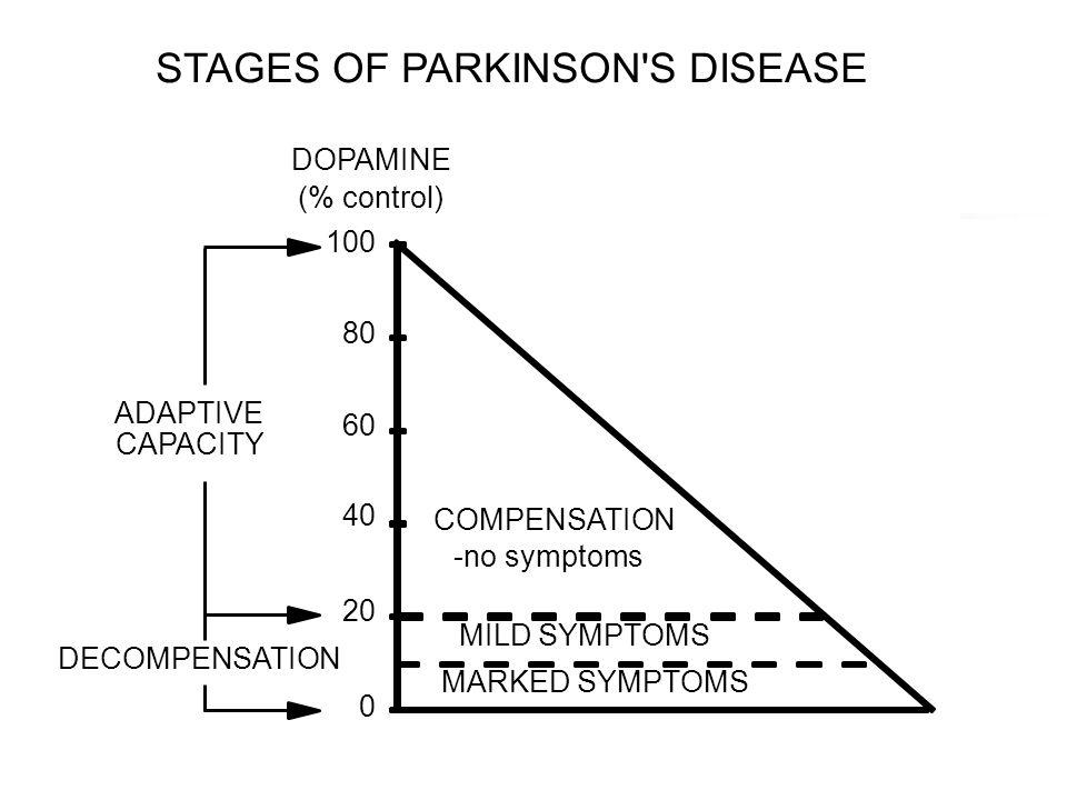 STAGES OF PARKINSON'S DISEASE DOPAMINE (% control) ADAPTIVE CAPACITY 0 20 40 60 80 100 DECOMPENSATION COMPENSATION -no symptoms MILD SYMPTOMS MARKED S