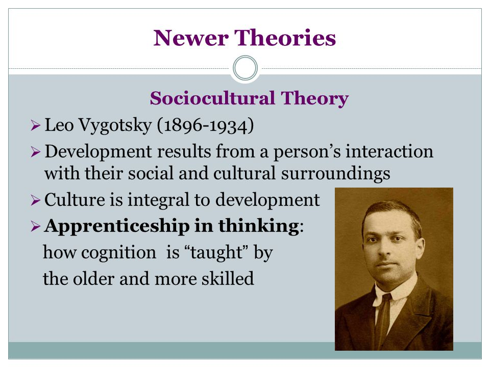Newer Theories Sociocultural Theory  Leo Vygotsky (1896-1934)  Development results from a person's interaction with their social and cultural surrou