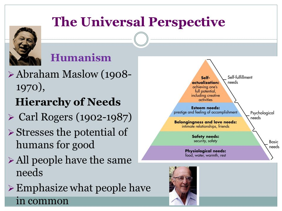 The Universal Perspective Humanism  Abraham Maslow (1908- 1970), Hierarchy of Needs  Carl Rogers (1902-1987)  Stresses the potential of humans for