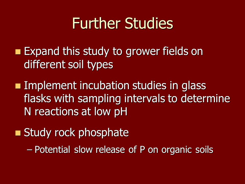 Further Studies Expand this study to grower fields on different soil types Expand this study to grower fields on different soil types Implement incubation studies in glass flasks with sampling intervals to determine N reactions at low pH Implement incubation studies in glass flasks with sampling intervals to determine N reactions at low pH Study rock phosphate Study rock phosphate –Potential slow release of P on organic soils