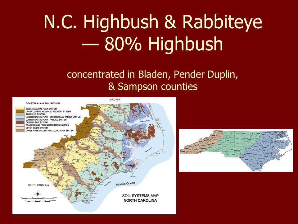 N.C. Highbush & Rabbiteye — 80% Highbush concentrated in Bladen, Pender Duplin, & Sampson counties