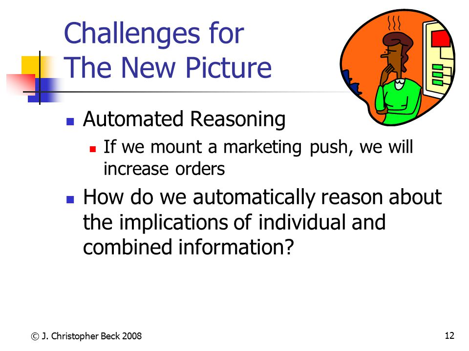 © J. Christopher Beck 2008 12 Challenges for The New Picture Automated Reasoning If we mount a marketing push, we will increase orders How do we autom