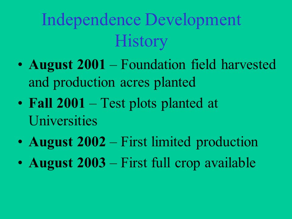 Independence Development History August 2001 – Foundation field harvested and production acres planted Fall 2001 – Test plots planted at Universities August 2002 – First limited production August 2003 – First full crop available
