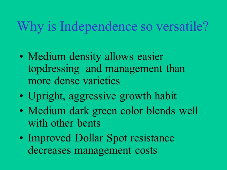 Why is Independence so versatile.