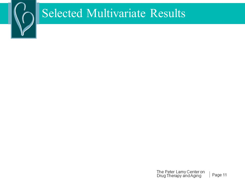 Page 11 The Peter Lamy Center on Drug Therapy and Aging Selected Multivariate Results