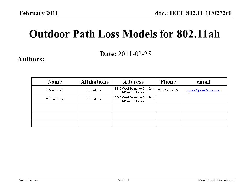 doc.: IEEE 802.11-11/0272r0 Submission February 2011 Ron Porat, Broadcom Outdoor Path Loss Models for 802.11ah Date: 2011-02-25 Authors: Slide 1