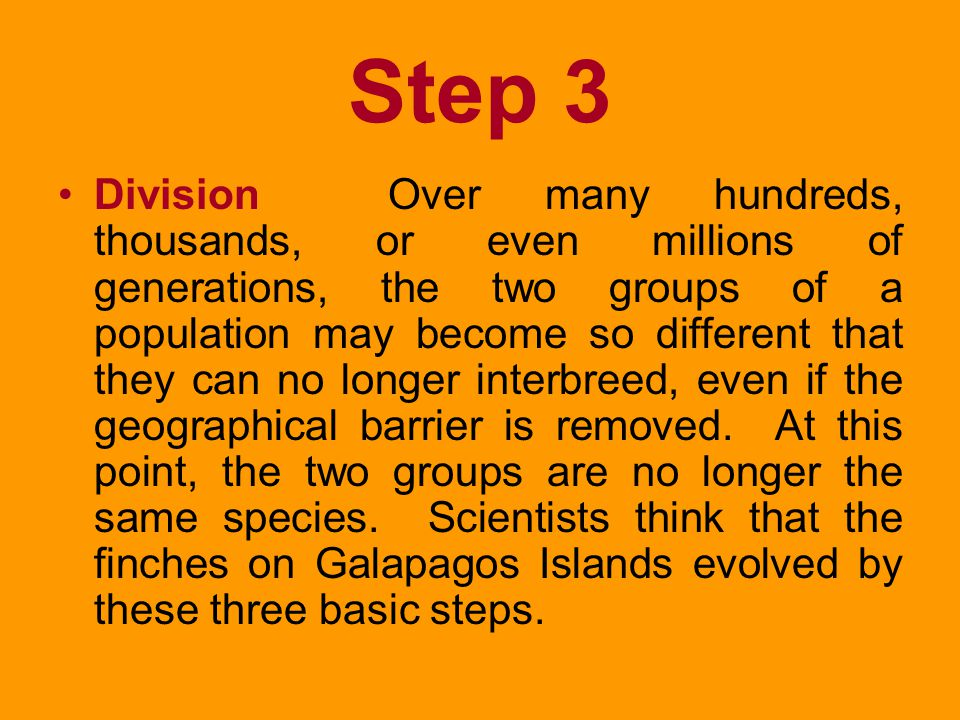 Step 2 Adaptation IF a population has been divided by one of the changes illustrated above, the environment may also change. This is where natural sel