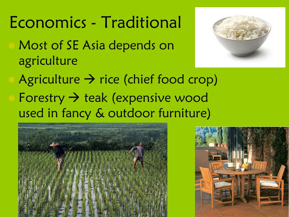 Economics - Traditional Most of SE Asia depends on agriculture Agriculture  rice (chief food crop) Forestry  teak (expensive wood used in fancy & outdoor furniture)