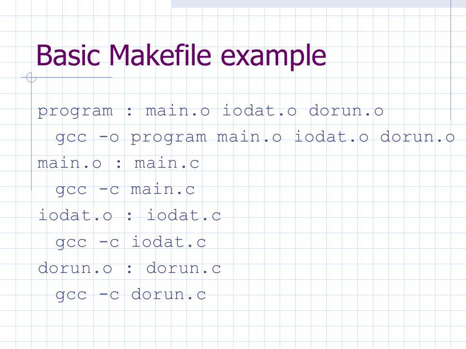 Basic Makefile example program : main.o iodat.o dorun.o gcc -o program main.o iodat.o dorun.o main.o : main.c gcc -c main.c iodat.o : iodat.c gcc -c iodat.c dorun.o : dorun.c gcc -c dorun.c