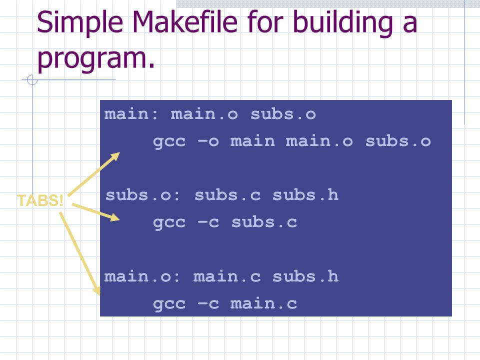 Simple Makefile for building a program.