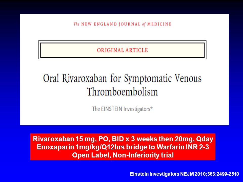 Einstein Investigators NEJM 2010;363:2499-2510 Rivaroxaban 15 mg, PO, BID x 3 weeks then 20mg, Qday Enoxaparin 1mg/kg/Q12hrs bridge to Warfarin INR 2-3 Open Label, Non-Inferiority trial