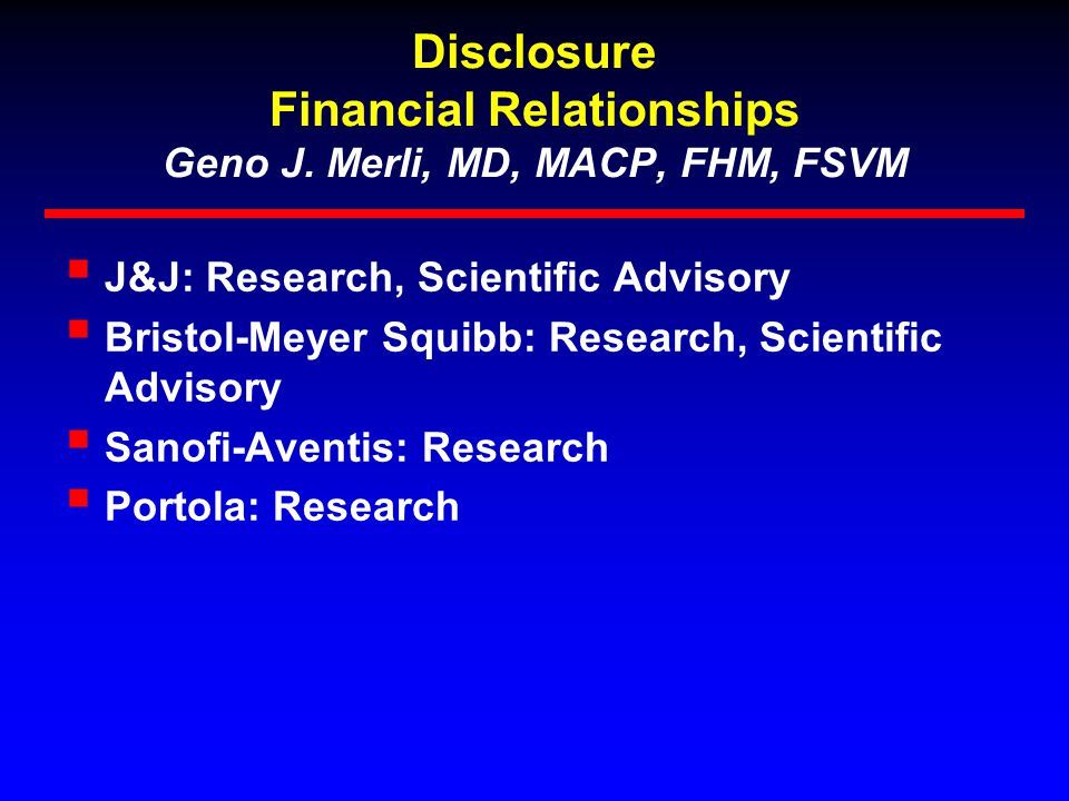 Disclosure Financial Relationships Geno J.