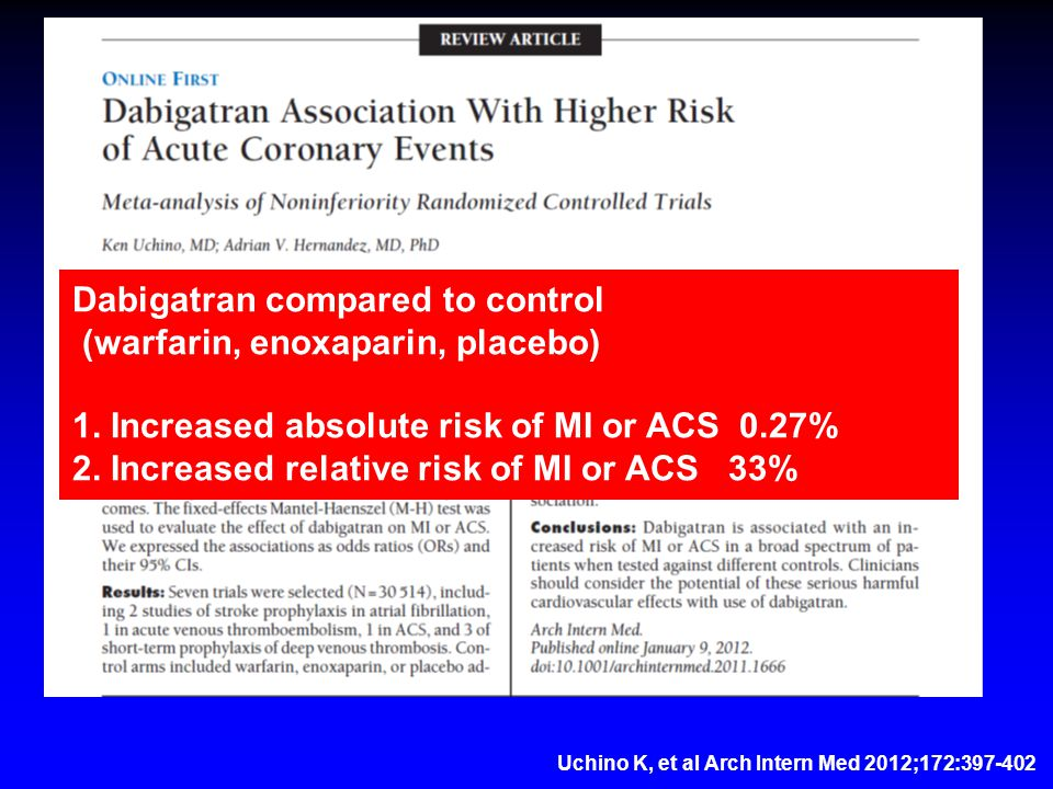 Dabigatran compared to control (warfarin, enoxaparin, placebo) 1.