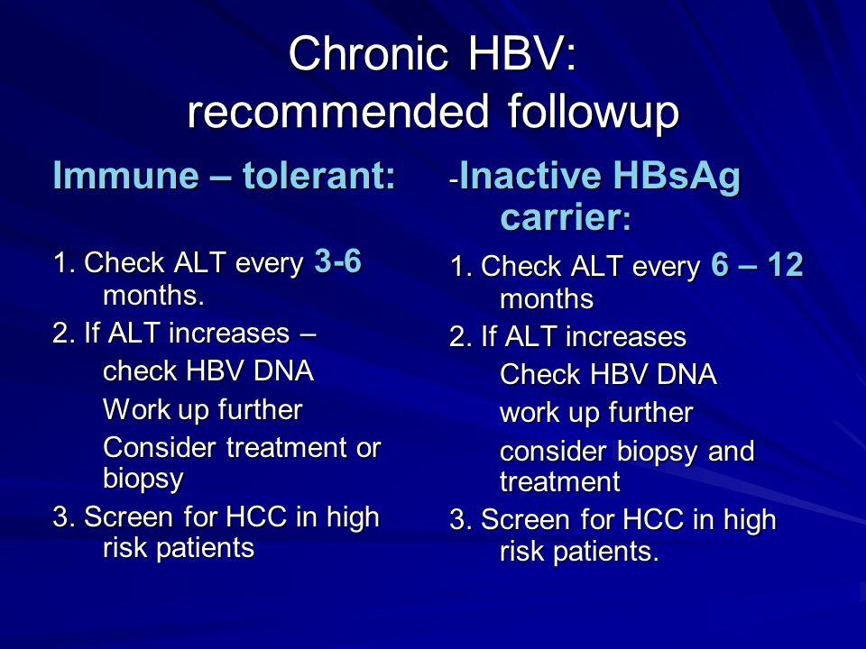 Chronic HBV: recommended followup Immune – tolerant: 1.