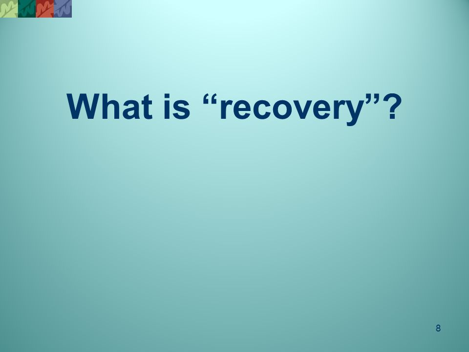 "8 What is ""recovery""?"