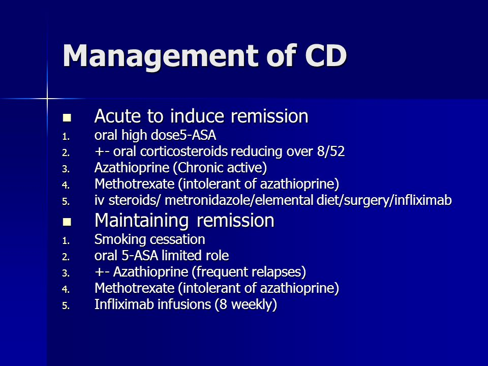 Management of CD Acute to induce remission Acute to induce remission 1.