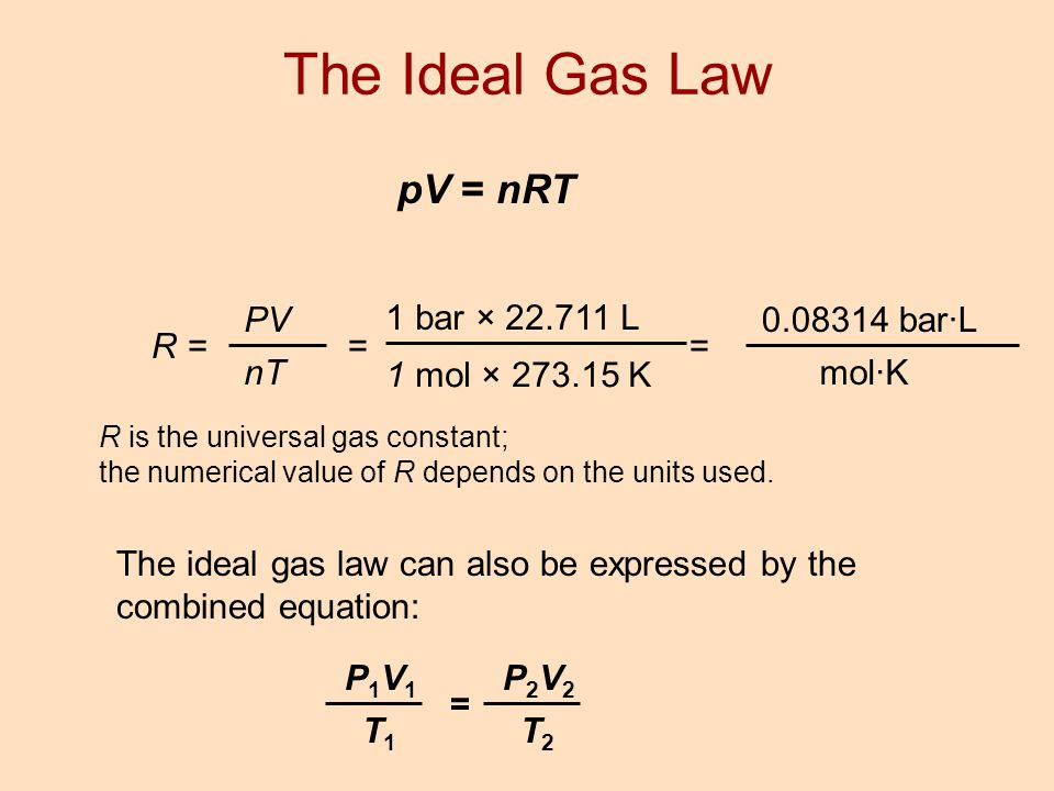 pV = nRT R = PV nT = 1 bar × 22.711 L 1 mol × 273.15 K = 0.08314 bar·L mol·K R is the universal gas constant; the numerical value of R depends on the