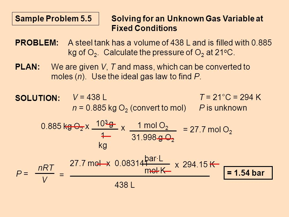 Sample Problem 5.5 Solving for an Unknown Gas Variable at Fixed Conditions PROBLEM:A steel tank has a volume of 438 L and is filled with 0.885 kg of O