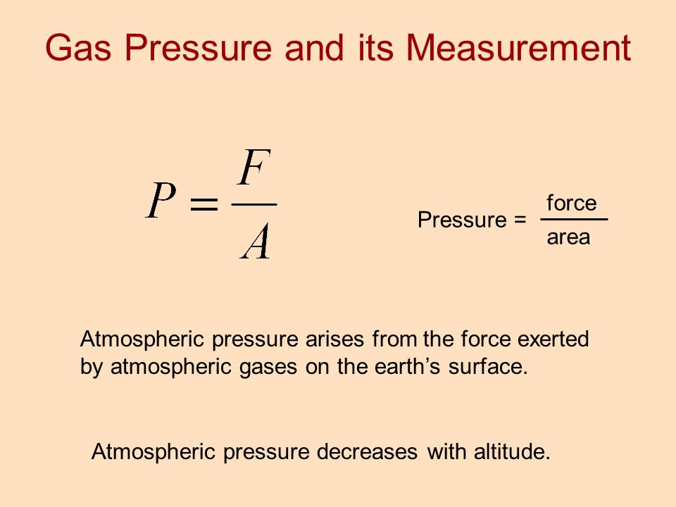 Pressure = force area Atmospheric pressure arises from the force exerted by atmospheric gases on the earth's surface. Atmospheric pressure decreases w