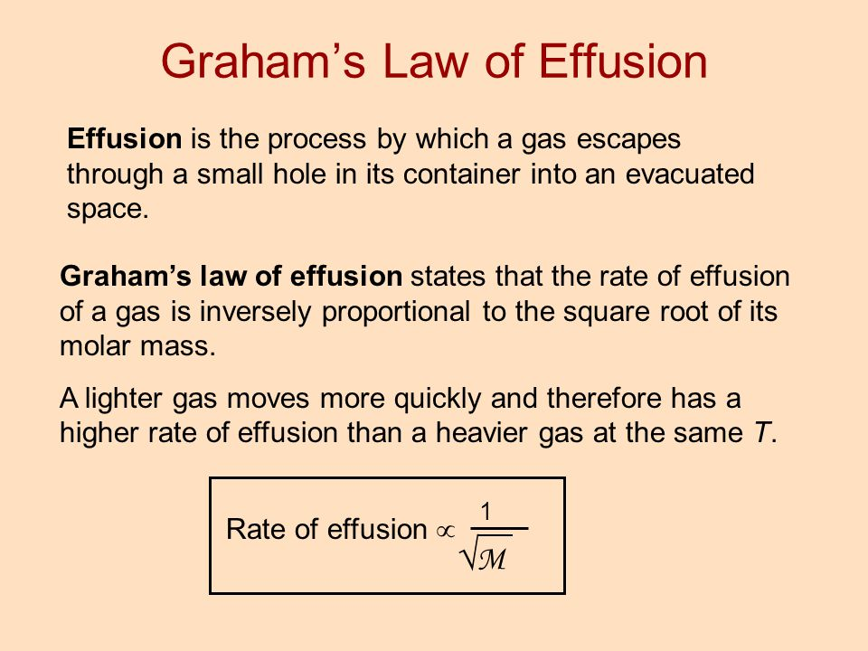 Effusion is the process by which a gas escapes through a small hole in its container into an evacuated space. Graham's law of effusion states that the