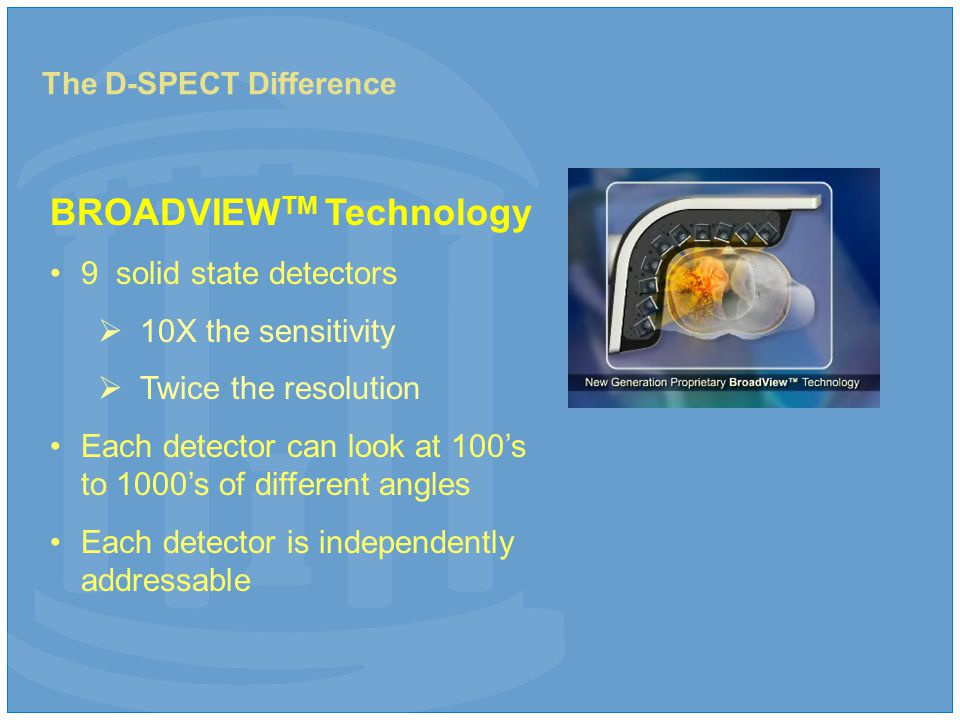 The D-SPECT Difference BROADVIEW TM Technology 9 solid state detectors  10X the sensitivity  Twice the resolution Each detector can look at 100's to 1000's of different angles Each detector is independently addressable