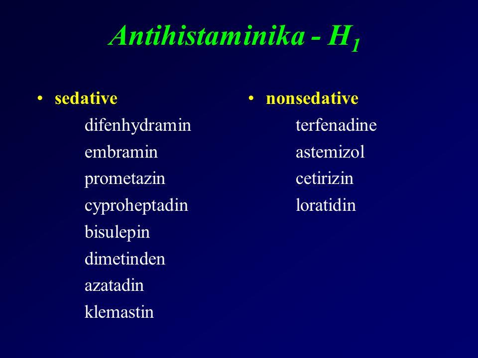 Antihistaminika - H 1 sedative difenhydramin embramin prometazin cyproheptadin bisulepin dimetinden azatadin klemastin nonsedative terfenadine astemiz