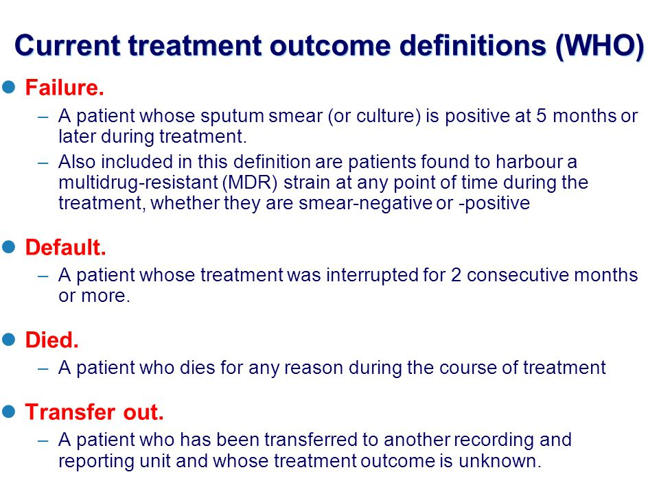 Current treatment outcome definitions (WHO) Failure.