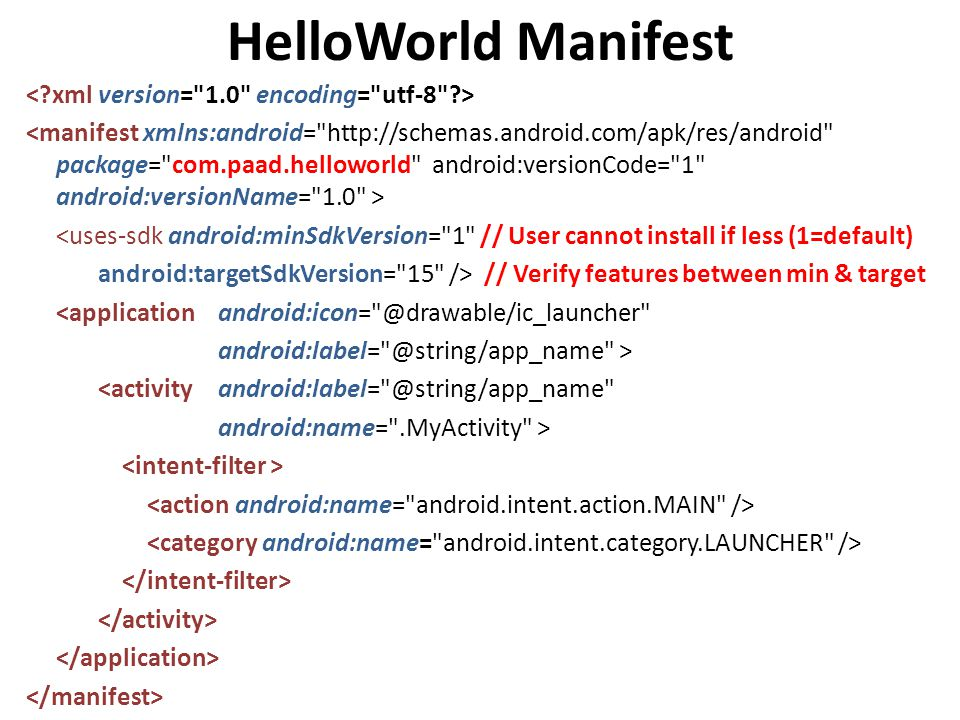 HelloWorld Manifest <uses-sdk android:minSdkVersion= 1 // User cannot install if less (1=default) android:targetSdkVersion= 15 /> // Verify features between min & target <application android:icon= @drawable/ic_launcher android:label= @string/app_name > <activity android:label= @string/app_name android:name= .MyActivity >