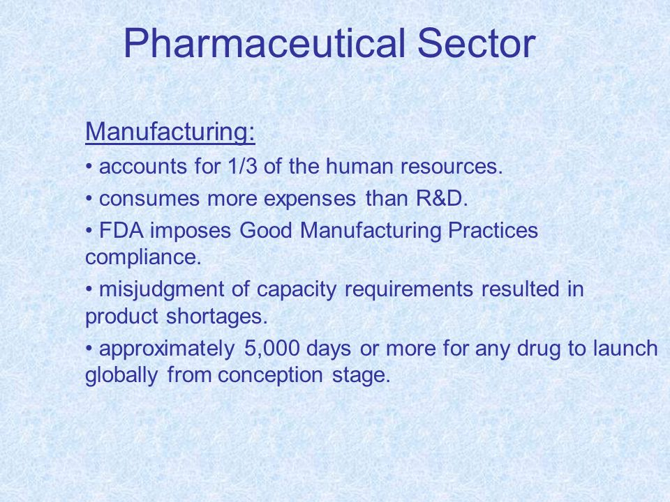 Pharmaceutical Sector Manufacturing: accounts for 1/3 of the human resources.