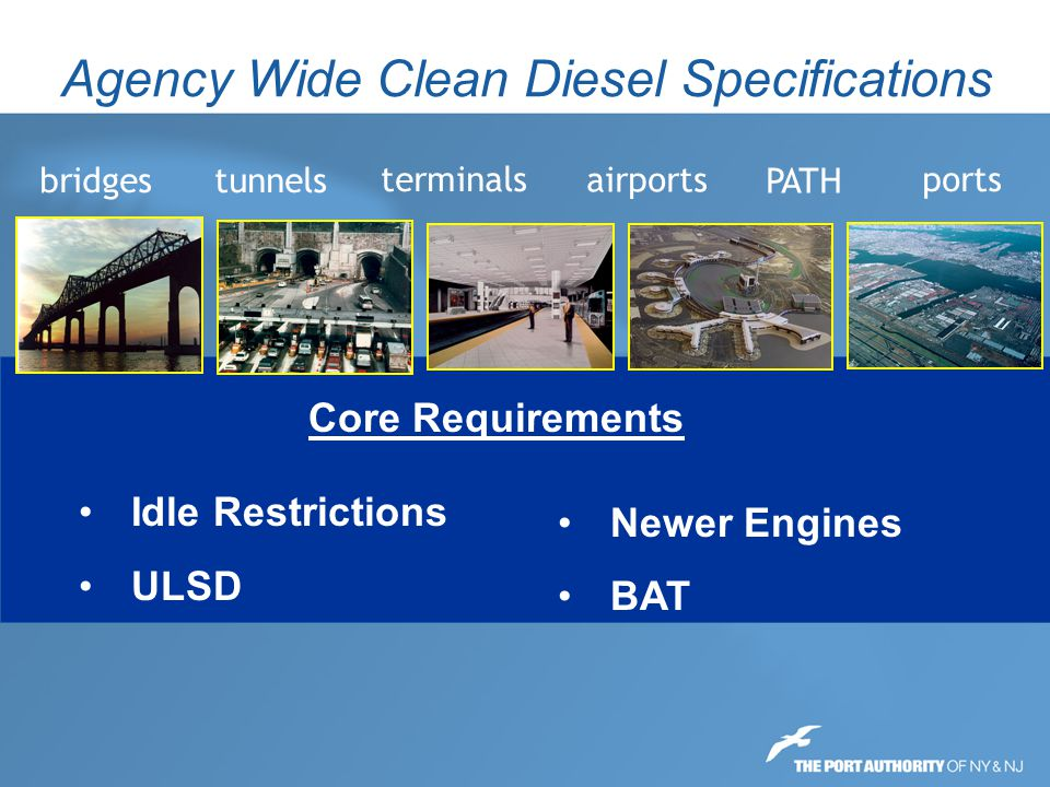 Agency Wide Clean Diesel Specifications Awarded in 2009 with total construction costs of $10 million or greater; Awarded in 2010 with total construction costs of $5 million of greater; Awarded in 2011 with total construction costs of $1.5 million of greater; All contracts awarded in 2012 or later Clean Diesel Specification Phase in Period